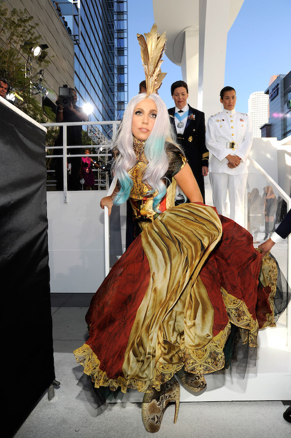 Lady Gaga wears a tribute outfit by the late Alexander McQueen at the MTV Awards in 2010