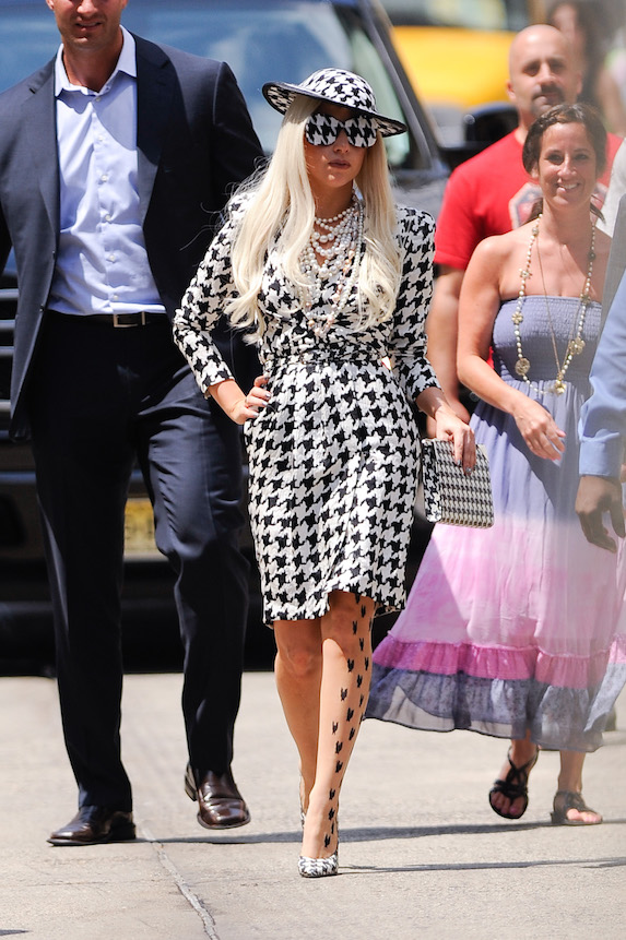 Lady Gaga wears a houndstooth-print outfit for a 2011 talk show appearance