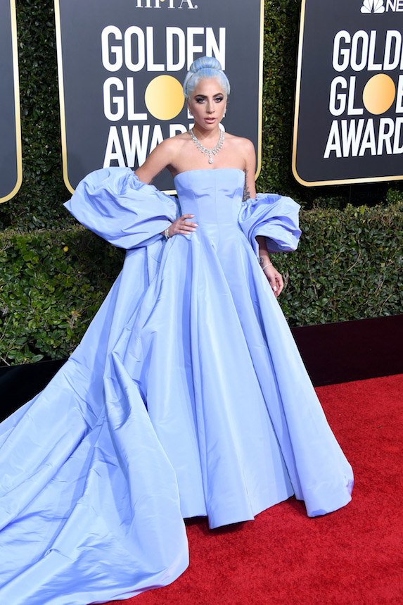 Lady Gaga wears a powder-blue gown on the red carpet for the 76th Golden Globes