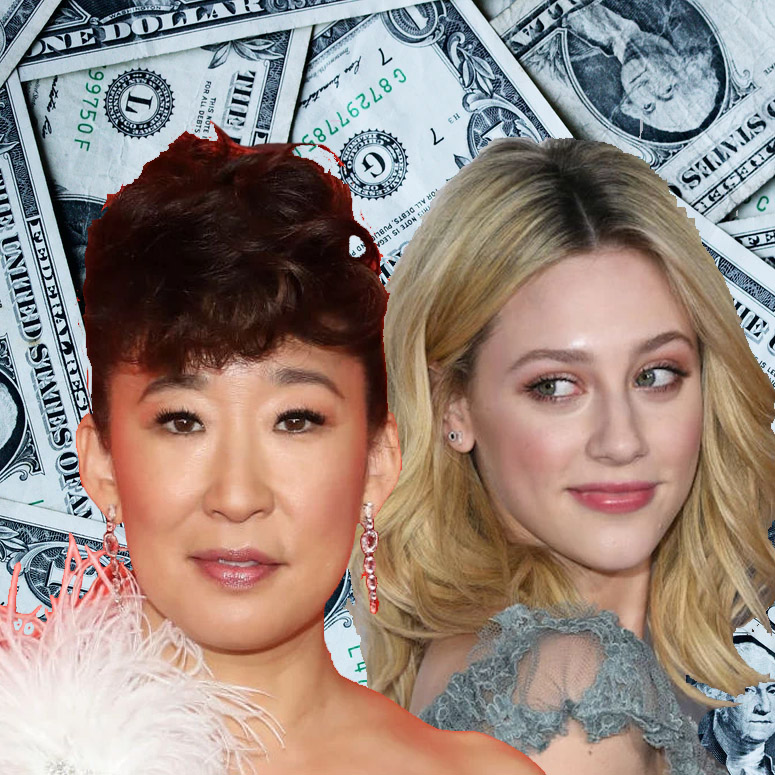 Sandra Oh and Lili Reinhart with American money in the background