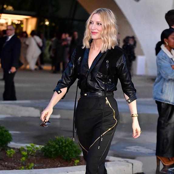 Cate Blanchett rocks leather jacket