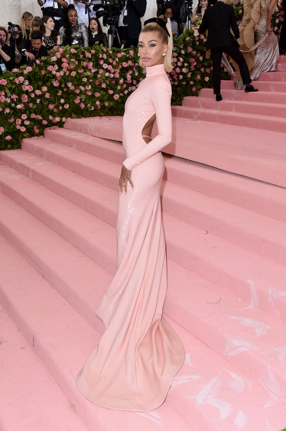 Hailey Bieber wears a pink sequin gown to the 2019 Met Gala