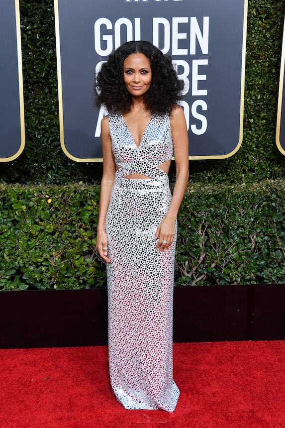 Thandie Newton wears a mirrored gown to the 2019 Golden Globe Awards
