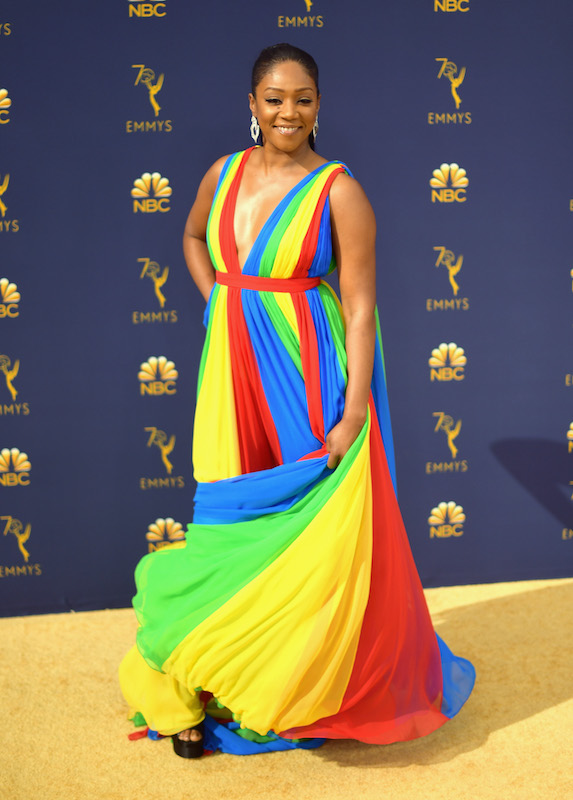 Tiffany Haddish wears a rainbow-coloured gown to the Emmy Awards in 2018