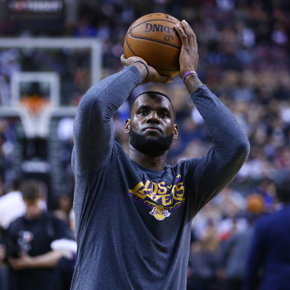 Lebron James playing on the Los Angeles Lakers