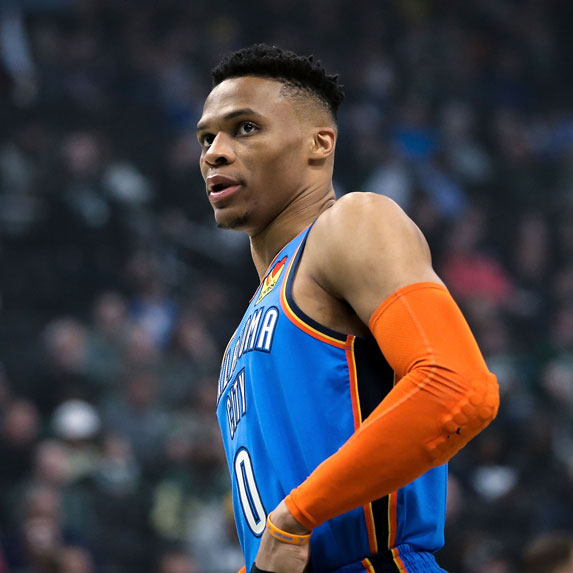 Russell Westbrook playing on the Oklahoma Thunder.