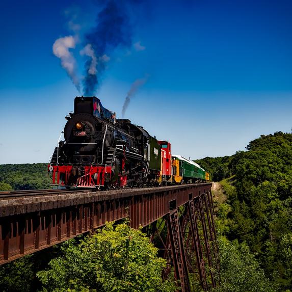 a locomotive on a bridge