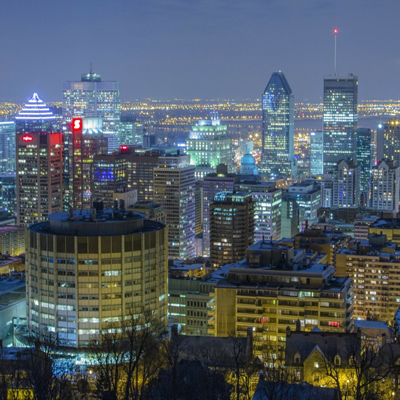 a city view of Montreal at night
