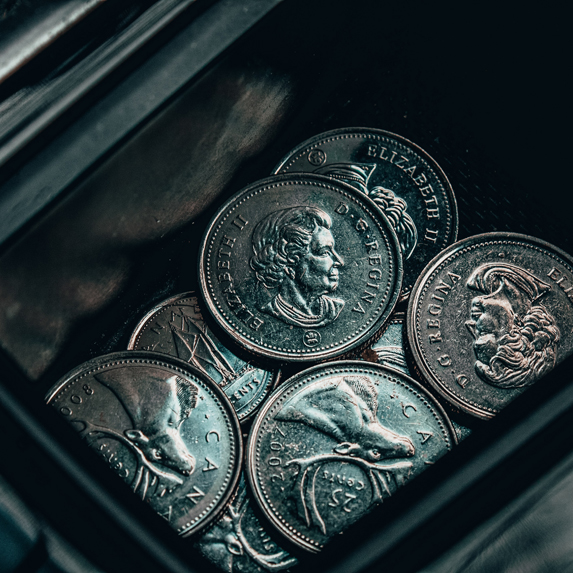 Canadian coins in a car coin holder