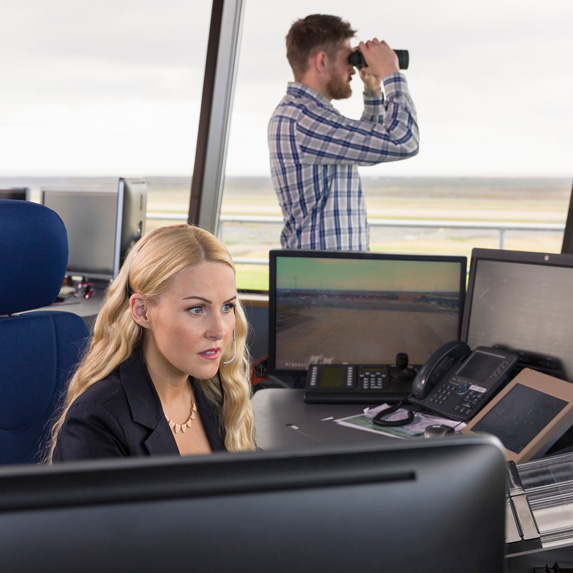 Air traffic controllers in the tower