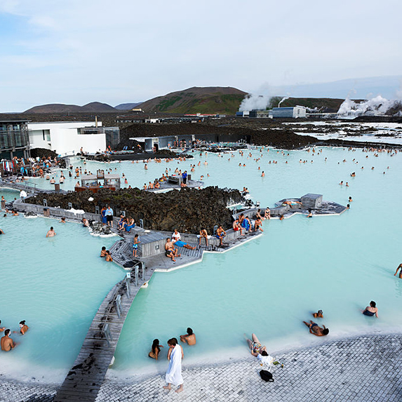 An aerial view of the Blue Lagoon in Iceland, a natural hot spring