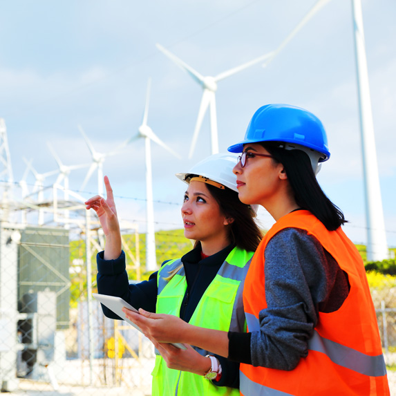 Environmental engineers in the field