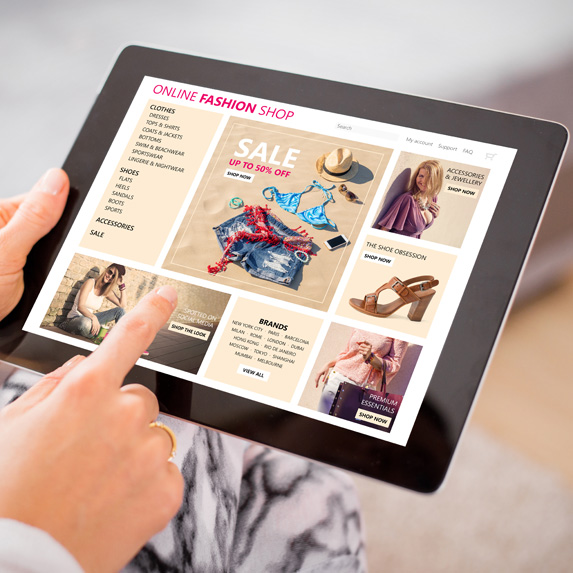 Retail online shopping site on an tablet