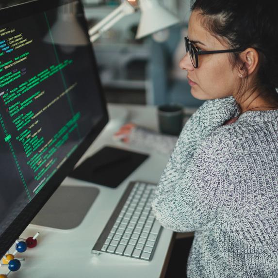 Software engineer coding