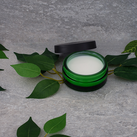 Cleansing balm with green leaves