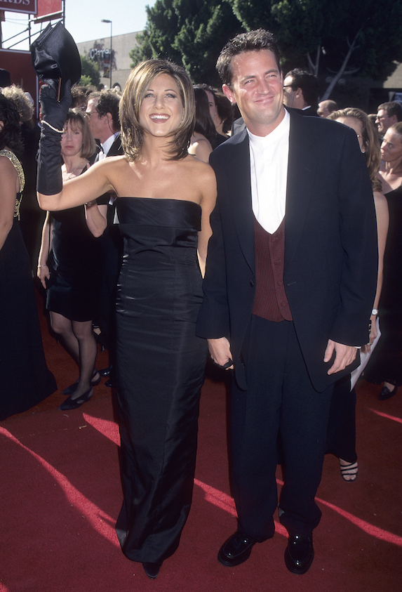 Jennifer Aniston and Matthew Perry attend the Emmy Awards in 1995