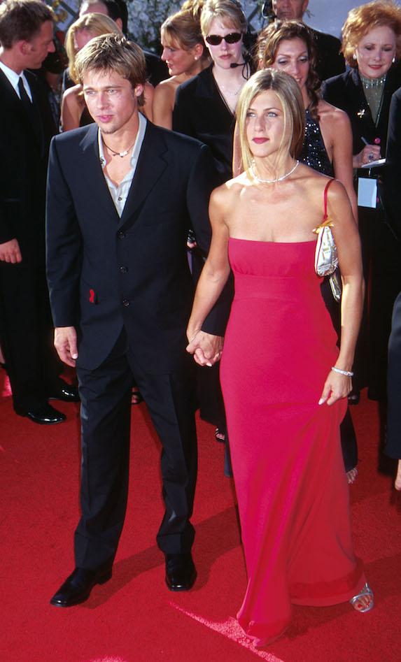 Jennifer Aniston and Brad Pitt attend the 2000 Emmy Awards
