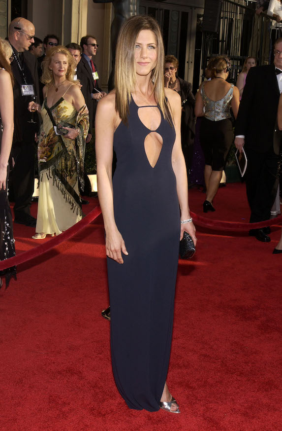 Jennifer Aniston wears a navy blue gown to the SAG Awards in 2003
