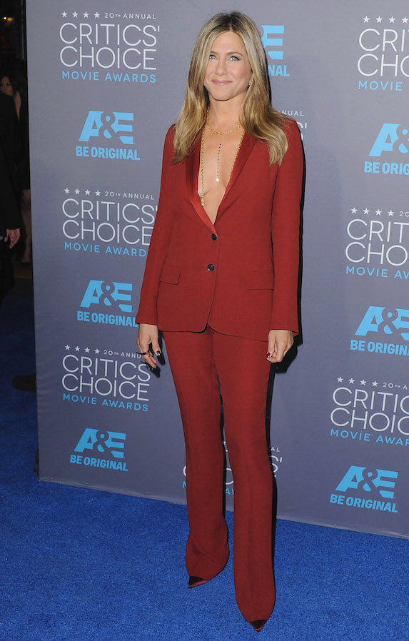 Jennifer Aniston wears a dark red pantsuit to the Critics Choice Awards in 2015