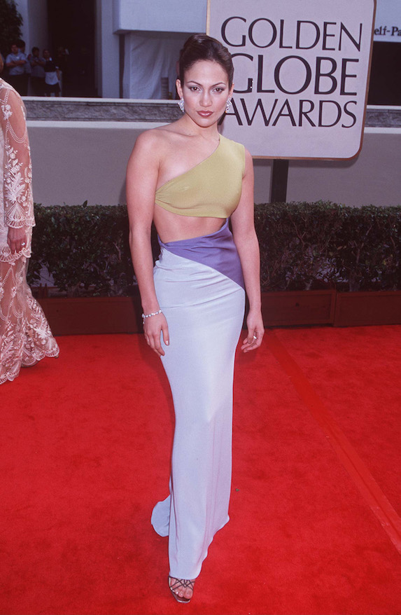 Jennifer Lopez wears a colour-block one-shoulder gown to the Golden Globe Awards in 1998