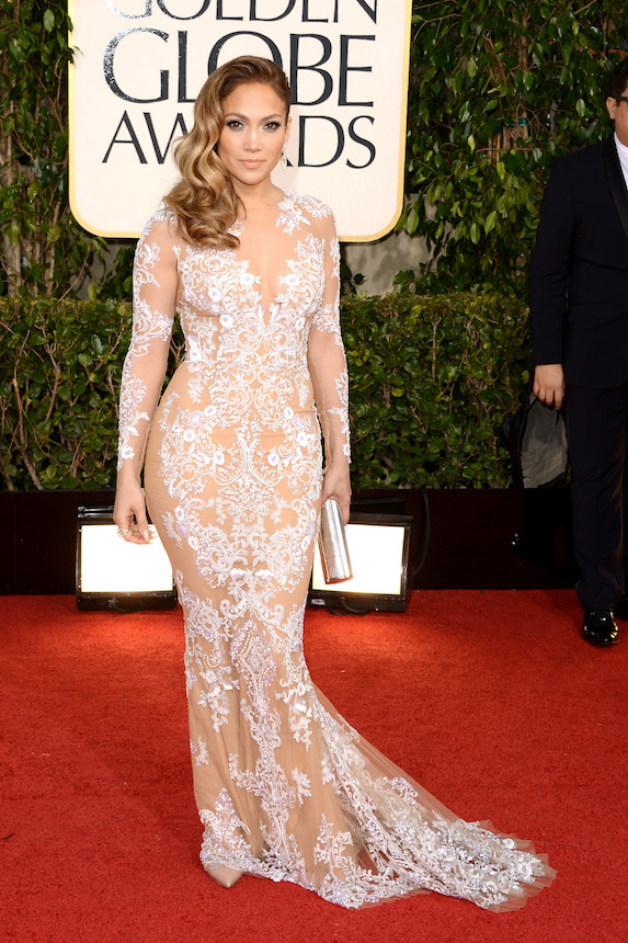 Jennifer Lopez wears a long-sleeve down by Zuhair Murad to the 2013 Golden Globes