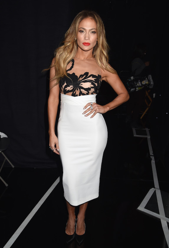 Jennifer Lopez wears a black-and-white midi-dress to the Hollywood Film Awards in 2014