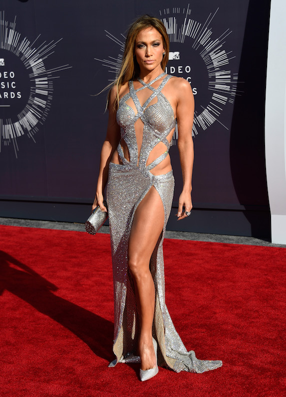 Jennifer Lopez wears a daring sparkly cut-out dress to the MTV Awards in 2014