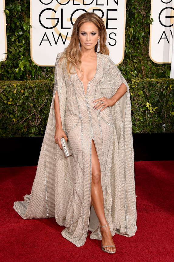 Jennifer Lopez wears a Zuhair Murad dress to the Golden Globe Awards in 2015
