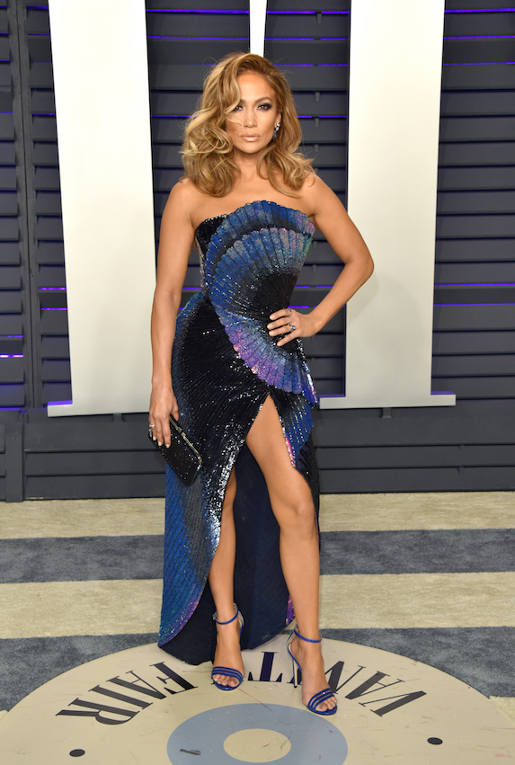 Jennifer Lopez wears couture gown by Zuhair Murad on the 2019 Vanity Fair red carpet