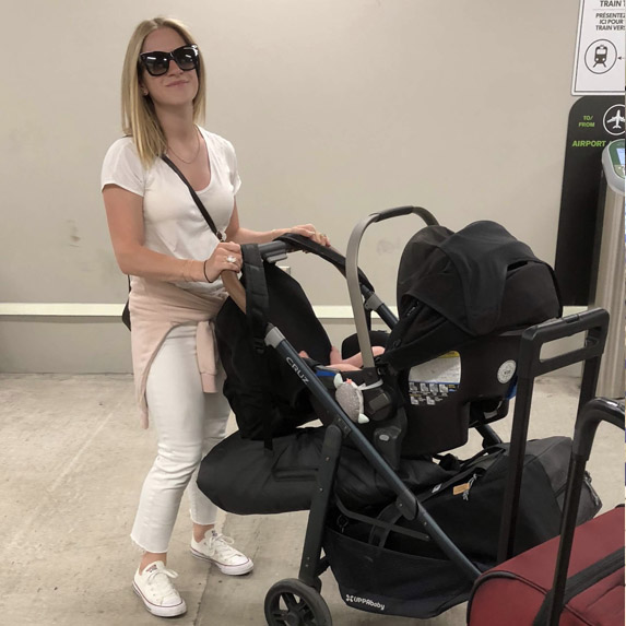 Mom flying solo with baby