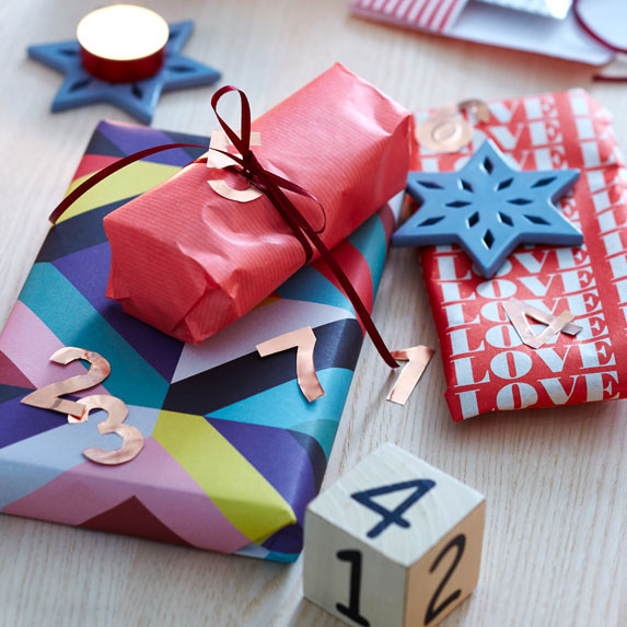 Colourful gift wrap on presents