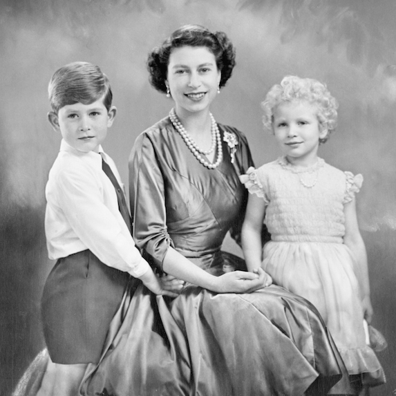 Young Prince Charles and Princess Anne