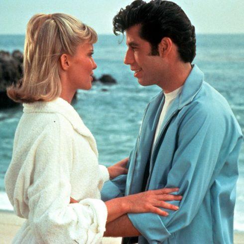 Olivia Newton John as Sandy and John Travolta as Danny in Grease