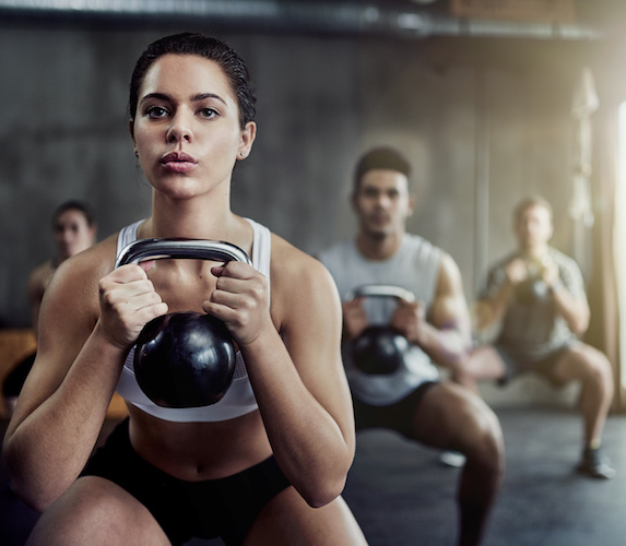 Intense group workout using weights
