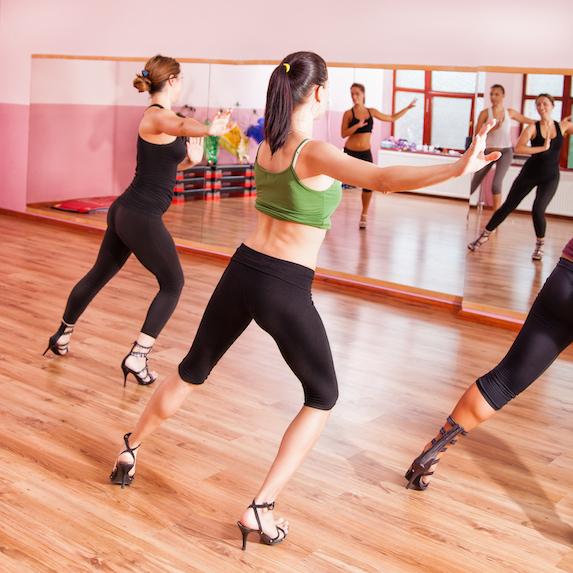 Dance class with women wearing heels