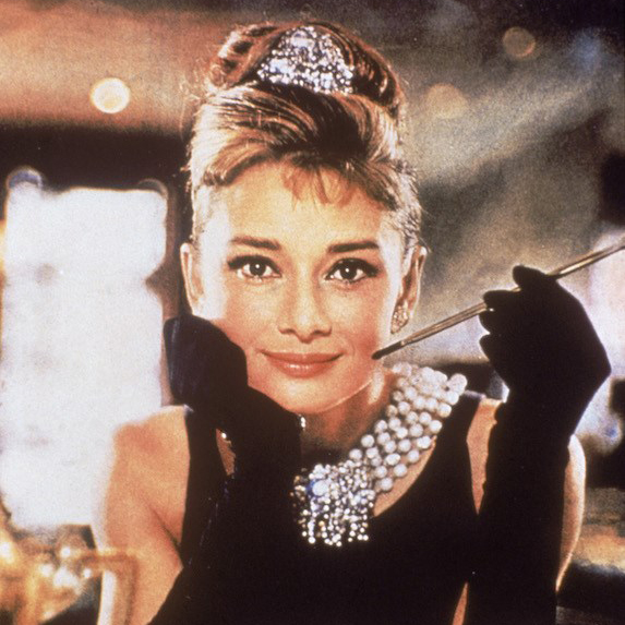 Audrey Hepburn in a photo from the 1960's film Breakfast at Tiffany's