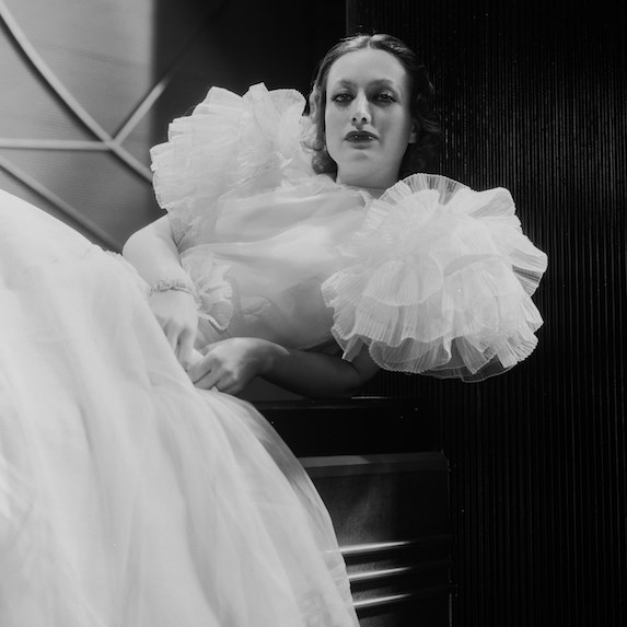 A photo of Joan Crawford from the set of a 1932 film