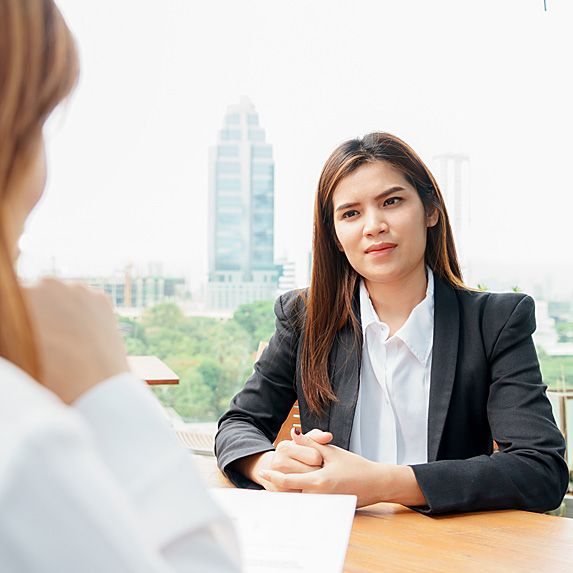 Serious woman in interview