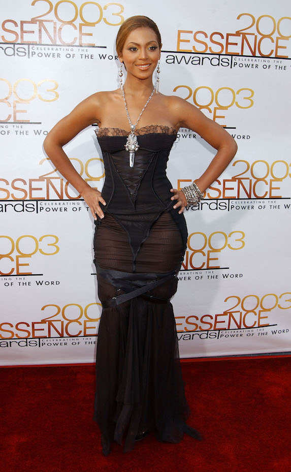 Beyonce wears a fitted black strapless gown to the 2003 Essence Awards