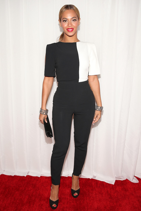 Beyonce wears a black and white jumpsuit to the 2013 Grammy Awards