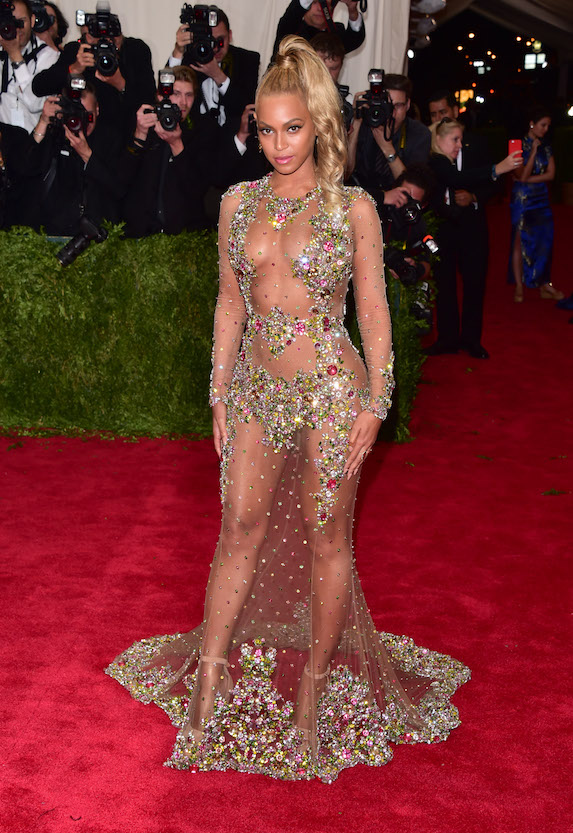 Beyonce wears a sheer gown with rhinestones to the 2015 MET Gala