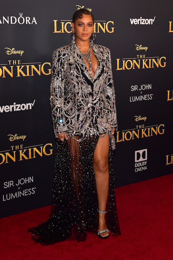 Beyonce wears an embellished blazer and skirt ensemble to the 2019 premiere of Disney's The Lion King