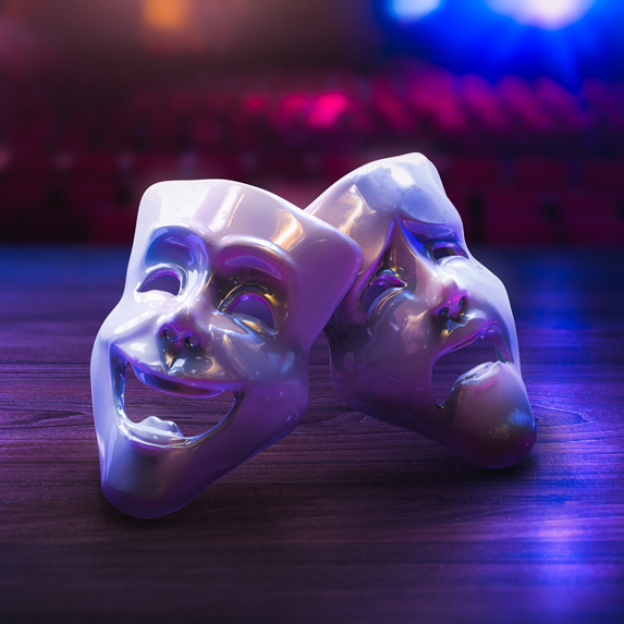 Drama masks on a stage