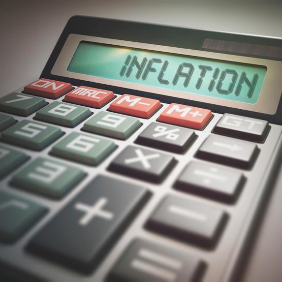 Inflation written on a calculator