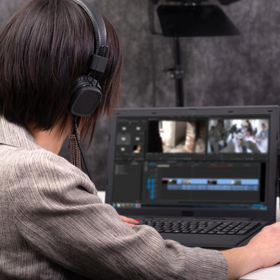 Woman video editing