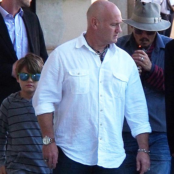 Johnny Depp, son Jack and bodyguards