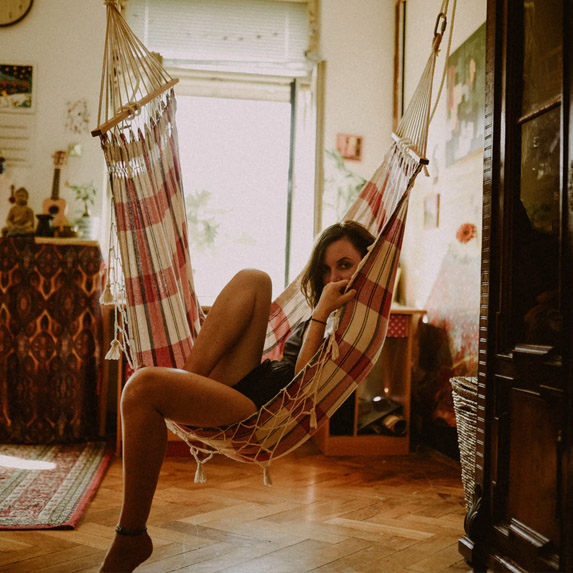 woman chilling in her home