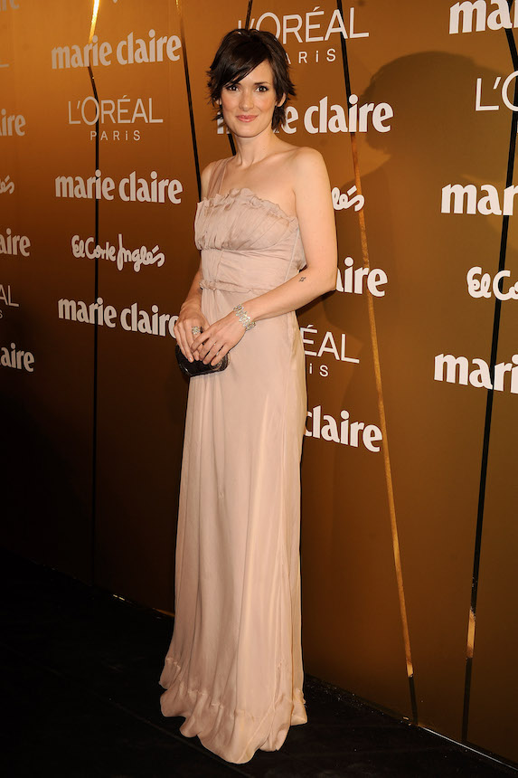 Winona Ryder wears a strapless blush-pink gown to an awards event in 2008