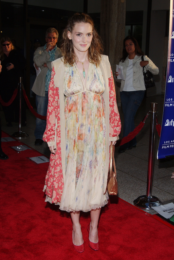 Winona Ryder wears floaty layers in a variety of mixed prints to a film festival in 2004