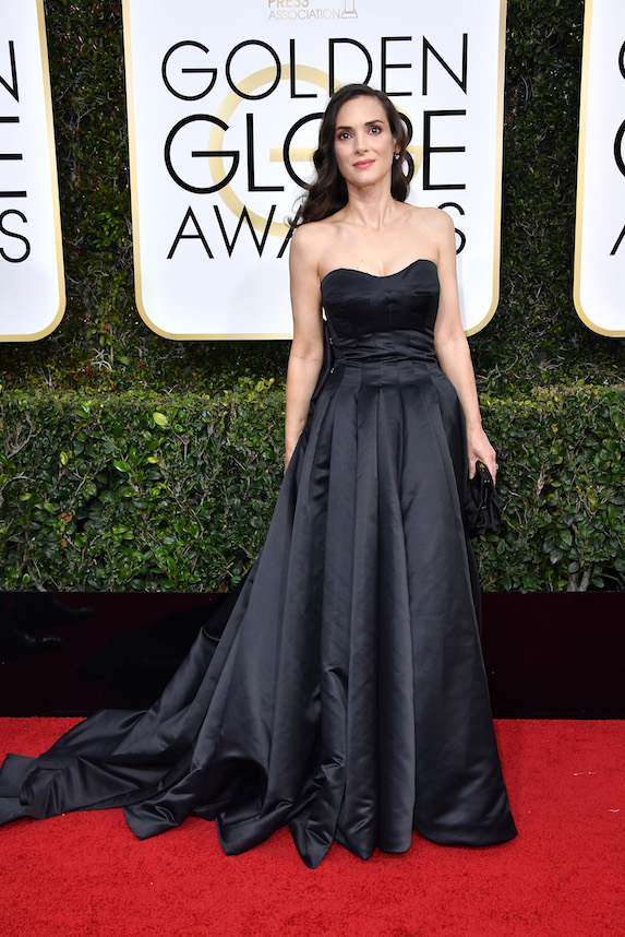 Winona Ryder wears a black strapless gown to the Golden Globe Awards in 2017